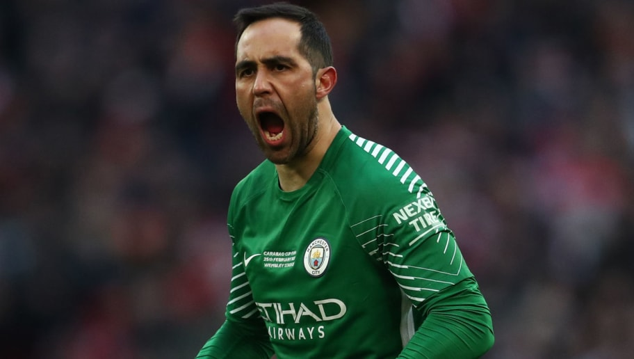 LONDON, ENGLAND - FEBRUARY 25: Claudio Bravo Manchester City celebrates during the Carabao Cup Final between Arsenal and Manchester City at Wembley Stadium on February 25, 2018 in London, England. (Photo by Catherine Ivill/Getty Images)