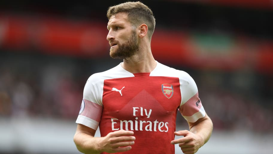 LONDON, ENGLAND - AUGUST 12:  Shkodran Mustafi of Arsenal in action during the Premier League match between Arsenal FC and Manchester City at Emirates Stadium on August 12, 2018 in London, United Kingdom.  (Photo by Michael Regan/Getty Images)