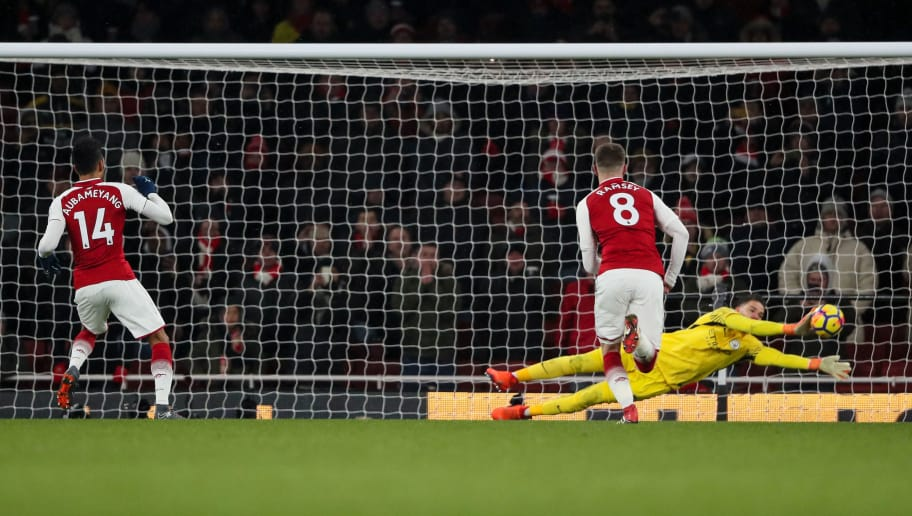LONDON, ENGLAND - MARCH 01: Ederson of Manchester City saves a penalty from Pierre-Emerick Aubameyang of Arsenal during the Premier League match between Arsenal and Manchester City at Emirates Stadium on March 1, 2018 in London, England. (Photo by Matthew Ashton - AMA/Getty Images)