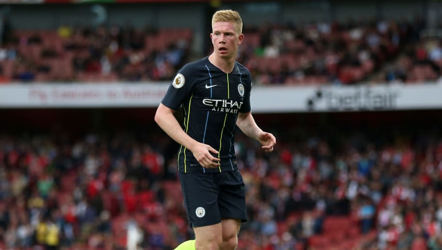 LONDON, ENGLAND - AUGUST 12: Kevin De Bruyne of Manchester City during the Premier League match between Arsenal FC and Manchester City at Emirates Stadium on August 12, 2018 in London, United Kingdom. (Photo by James Baylis - AMA/Getty Images)