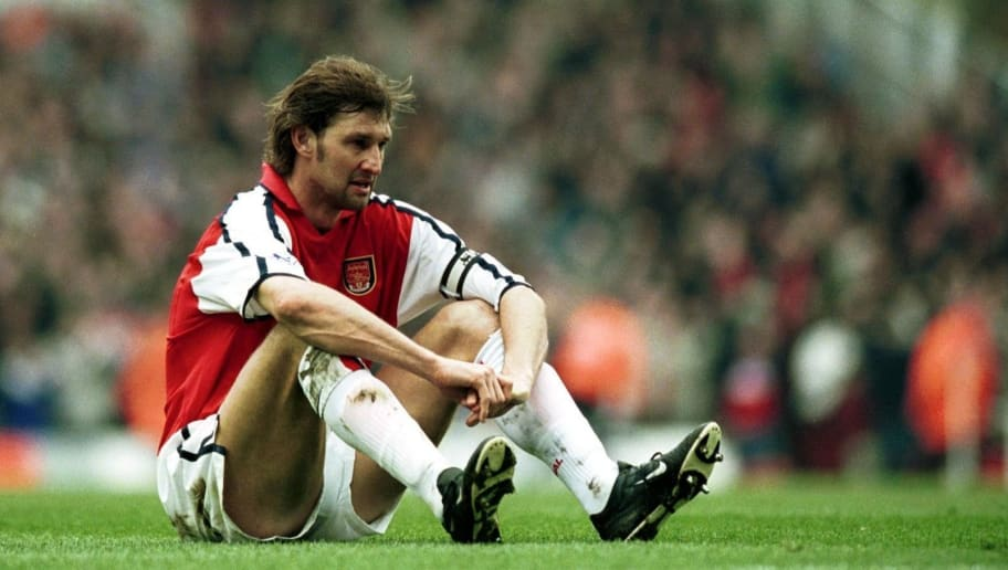14 Apr 2001:   A dejected Tony Adams of Arsenal after another Middlesbrough goal during the FA Carling Premiership match between Arsenal v Middlesbrough at Highbury, London. Mandatory Credit: Shaun Botterill/ALLSPORT