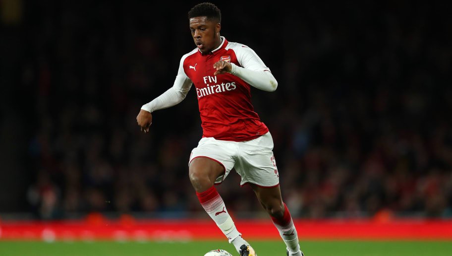 LONDON, ENGLAND - OCTOBER 24: Chuba Akpom of Arsenal in action during the Carabao Cup Fourth Round match between Arsenal and Norwich City at Emirates Stadium on October 24, 2017 in London, England. (Photo by Richard Heathcote/Getty Images)