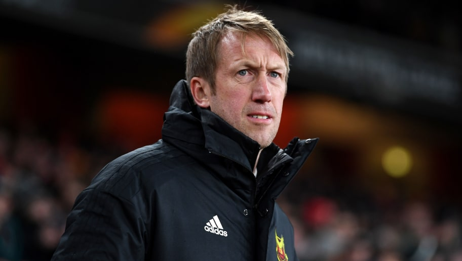 LONDON, ENGLAND - FEBRUARY 22:  Graham Potter, head coach of Ostersunds FK looks on during UEFA Europa League Round of 32 match between Arsenal and Ostersunds FK at the Emirates Stadium on February 22, 2018 in London, United Kingdom.  (Photo by Michael Regan/Getty Images)