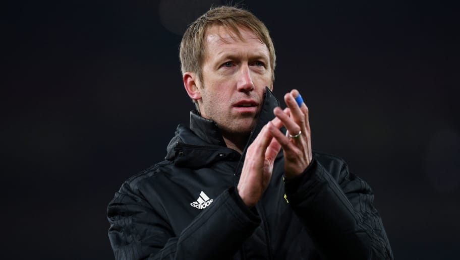 LONDON, ENGLAND - FEBRUARY 22:  Graham Potter, head coach of Ostersunds FK claps the fans after UEFA Europa League Round of 32 match between Arsenal and Ostersunds FK at the Emirates Stadium on February 22, 2018 in London, United Kingdom.  (Photo by Michael Regan/Getty Images)