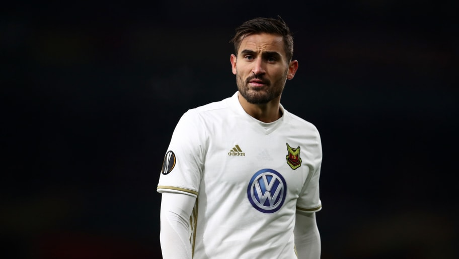 LONDON, ENGLAND - FEBRUARY 22: Sotirios Papagiannopoulos of Ostersunds FK during UEFA Europa League Round of 32 match between Arsenal and Ostersunds FK at the Emirates Stadium on February 22, 2018 in London, United Kingdom. (Photo by Catherine Ivill/Getty Images)