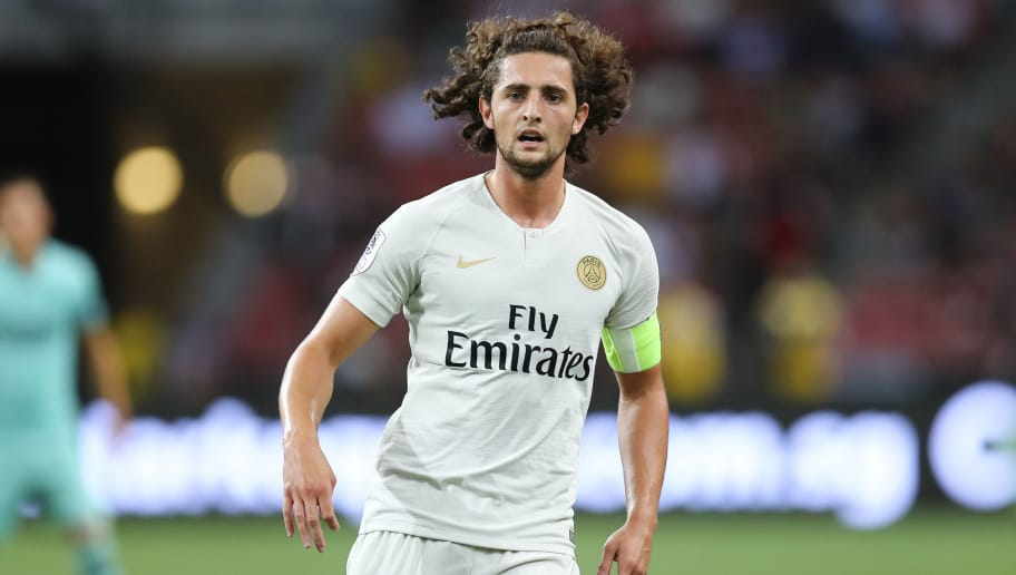 SINGAPORE, SINGAPORE - JULY 28: Adrien Rabiot #25 of Paris Saint Germain in action during the International Champions Cup match between Arsenal and Paris Saint Germain at the National Stadium on July 28, 2018 in Singapore. (Photo by Pakawich Damrongkiattisak/Getty Images)
