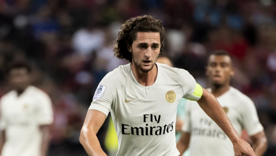 SINGAPORE,SINGAPORE - July 28: Adrien Rabiot of Paris Saint Germain with the ball during the International Champions Cup 2018 match between Arsenal and Paris Saint Germain (Photo by PictoBank/Getty Images)