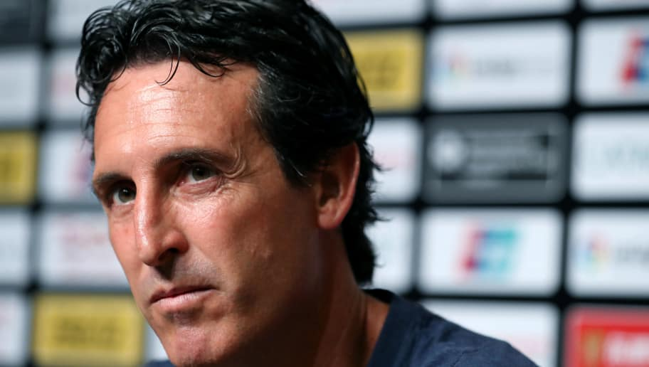 SINGAPORE, SINGAPORE - JULY 28: Unai Emery manager of Arsenal attends a press conference folowing the International Champions Cup match between Arsenal and Paris Saint Germain at the National Stadium on July 28, 2018 in Singapore. (Photo by Paul Miller/Getty Images for ICC)
