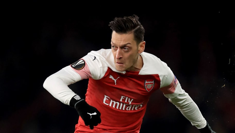 LONDON, ENGLAND - DECEMBER 13: Mesut Ozil of Arsenal during the UEFA Europa League Group E match between Arsenal and Qarabag FK at Emirates Stadium on December 13, 2018 in London, United Kingdom. (Photo by Marc Atkins/Getty Images)