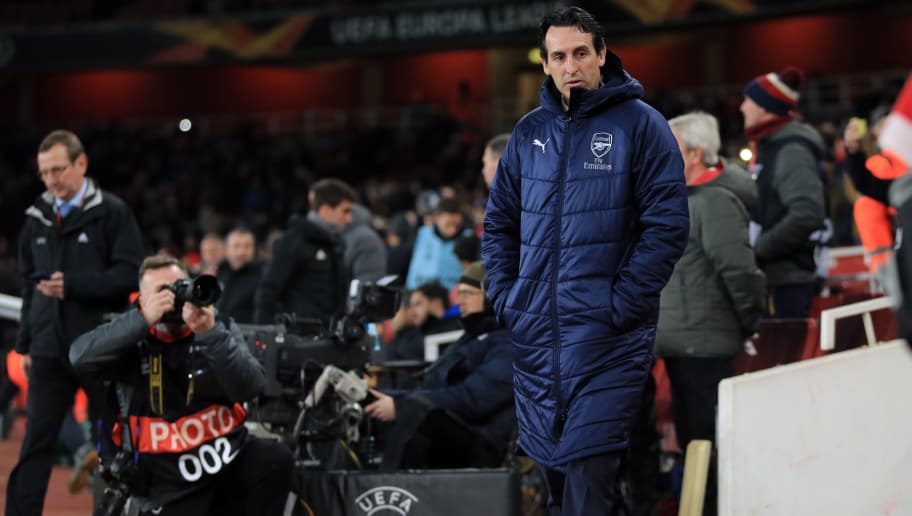 LONDON, ENGLAND - DECEMBER 13: Unai Emery manager of Arsenal during the UEFA Europa League Group E match between Arsenal and Qarabag FK at Emirates Stadium on December 13, 2018 in London, United Kingdom. (Photo by Marc Atkins/Getty Images)