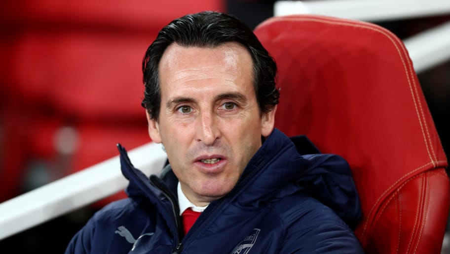 LONDON, ENGLAND - NOVEMBER 08:  Unai Emery, Manager of Arsenal looks on prior to the UEFA Europa League Group E match between Arsenal and Sporting CP at Emirates Stadium on November 8, 2018 in London, United Kingdom.  (Photo by Clive Rose/Getty Images)
