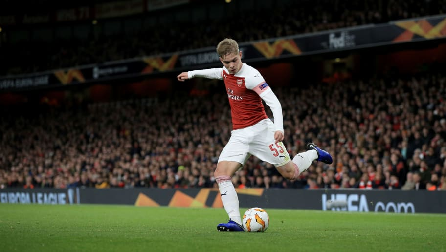 LONDON, ENGLAND - NOVEMBER 08: Emile Smith-Rowe of Arsenal during the UEFA Europa League Group E match between Arsenal and Sporting CP at Emirates Stadium on November 8, 2018 in London, United Kingdom. (Photo by Marc Atkins/Getty Images)