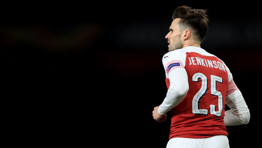LONDON, ENGLAND - NOVEMBER 08: Carl Jenkinson of Arsenal during the UEFA Europa League Group E match between Arsenal and Sporting CP at Emirates Stadium on November 8, 2018 in London, United Kingdom. (Photo by Marc Atkins/Getty Images)