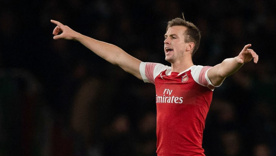 LONDON, ENGLAND - NOVEMBER 08: Rob Holding of Arsenal gestures  during the UEFA Europa League Group E match between Arsenal and Sporting CP at Emirates Stadium on November 8, 2018 in London, United Kingdom. (Photo by TF-Images/Getty Images)