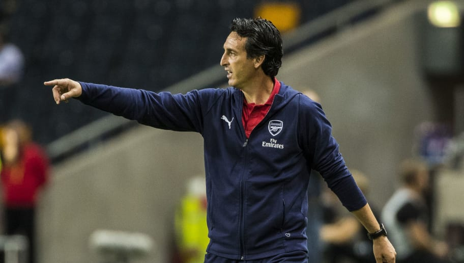 STOCKHOLM, SWEDEN - AUGUST 04: Arsenal FC head coach Unai Emery during the Pre-season friendly between Arsenal and SS Lazio at Friends Arena on August 4, 2018 in Stockholm, Sweden. (Photo by MICHAEL CAMPANELLA/Getty Images)