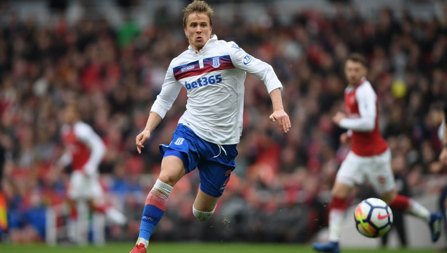 LONDON, ENGLAND - APRIL 01:  Moritz Bauer of Stoke City in action during the Premier League match between Arsenal and Stoke City at Emirates Stadium on April 1, 2018 in London, England.  (Photo by Mike Hewitt/Getty Images)