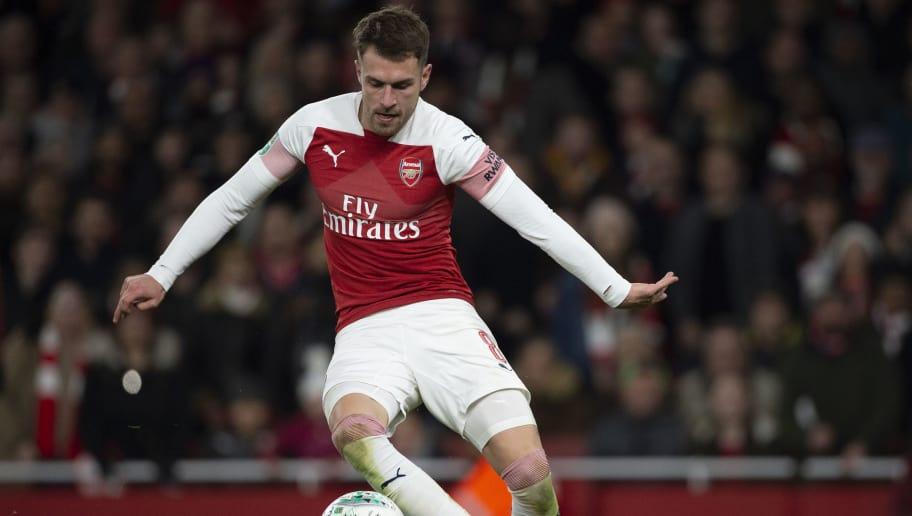 LONDON, ENGLAND - DECEMBER 19: Aaron Ramsey of Arsenal during the Carabao Cup Quarter Final match between Arsenal and Tottenham Hotspur at Emirates Stadium on December 19, 2018 in London, United Kingdom. (Photo by Visionhaus/Getty Images)