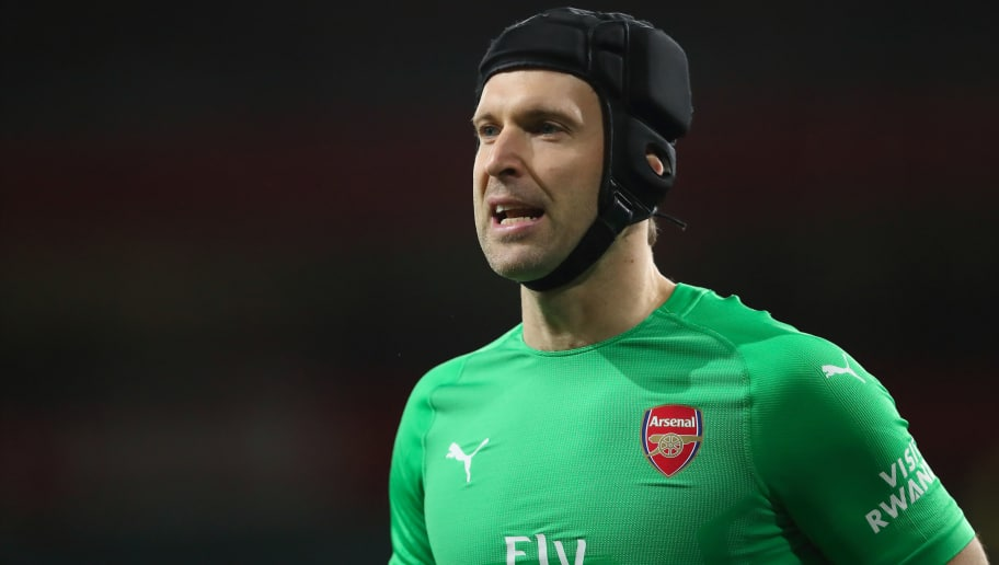 LONDON, ENGLAND - DECEMBER 19: Petr Cech of Arsenal during the Carabao Cup Quarter Final match between Arsenal and Tottenham Hotspur at Emirates Stadium on December 19, 2018 in London, United Kingdom. (Photo by James Williamson - AMA/Getty Images)