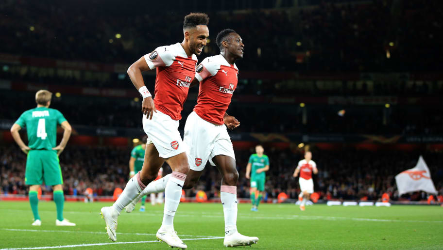 LONDON, ENGLAND - SEPTEMBER 20:  Pierre-Emerick Aubameyang of Arsenal celebrates scoring the opening goal with c during the UEFA Europa League Group E match between Arsenal and Vorskla Poltava at Emirates Stadium on September 20, 2018 in London, United Kingdom. (Photo by Marc Atkins/Getty Images)