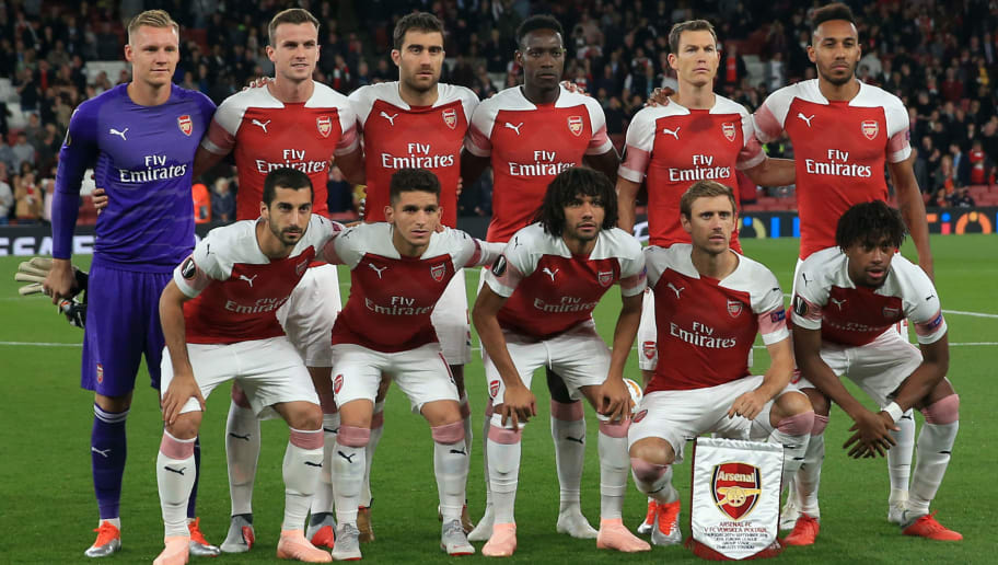 LONDON, ENGLAND - SEPTEMBER 20: The Arsenal starting lineup during the UEFA Europa League Group E match between Arsenal and Vorskla Poltava at Emirates Stadium on September 20, 2018 in London, United Kingdom. (Photo by Marc Atkins/Getty Images)