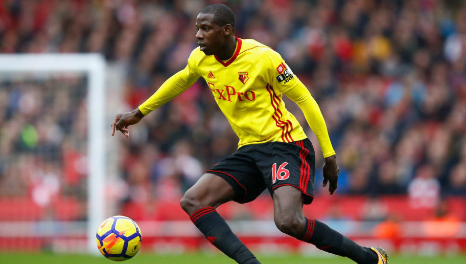 LONDON, ENGLAND - MARCH 11:  Abdoulaye Doucoure of Watford in action during the Premier League match between Arsenal and Watford at Emirates Stadium on March 11, 2018 in London, England.  (Photo by Julian Finney/Getty Images)