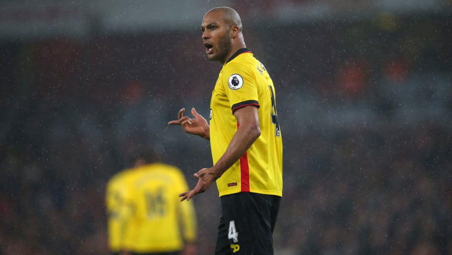 LONDON, ENGLAND - JANUARY 31: Younes Kaboul of Watford during the Premier League match between Arsenal and Watford at Emirates Stadium on January 31, 2017 in London, England. (Photo by Catherine Ivill - AMA/Getty Images)