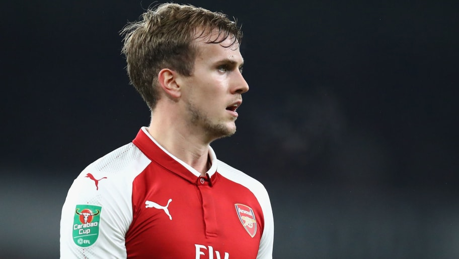 LONDON, ENGLAND - DECEMBER 19:  Rob Holding of Arsenal in action during the Carabao Cup Quarter Finals match between Arsenal and West Ham United at Emirates Stadium on December 19, 2017 in London, England.  (Photo by Julian Finney/Getty Images)