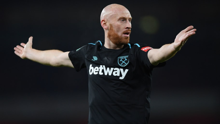 LONDON, ENGLAND - DECEMBER 19:  James Collins of West Ham United during the Carabao Cup quarter final match between Arsenal and West Ham United at Emirates Stadium on December 19, 2017 in London, England. (Photo by Shaun Botterill/Getty Images)