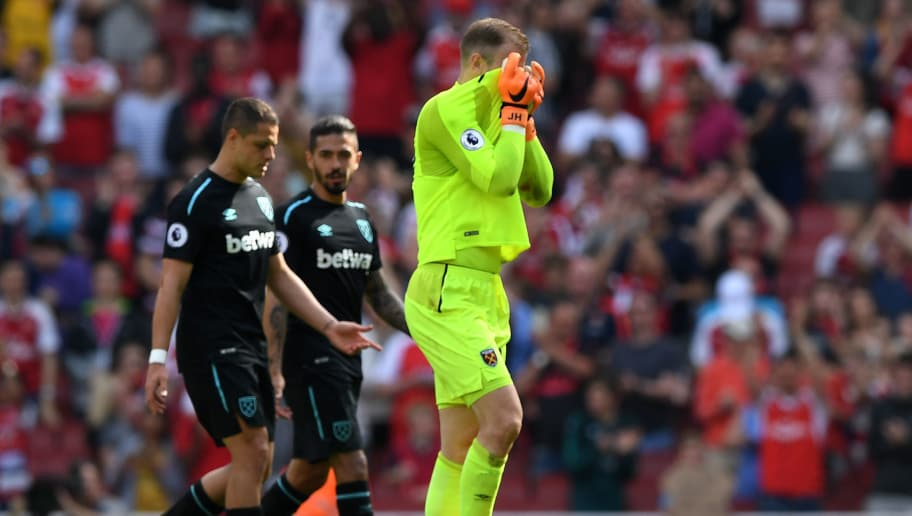 LONDON, ENGLAND - APRIL 22:  Joe Hart of West Ham United reacts following the Premier League match between Arsenal and West Ham United at Emirates Stadium on April 22, 2018 in London, England.  (Photo by Shaun Botterill/Getty Images)
