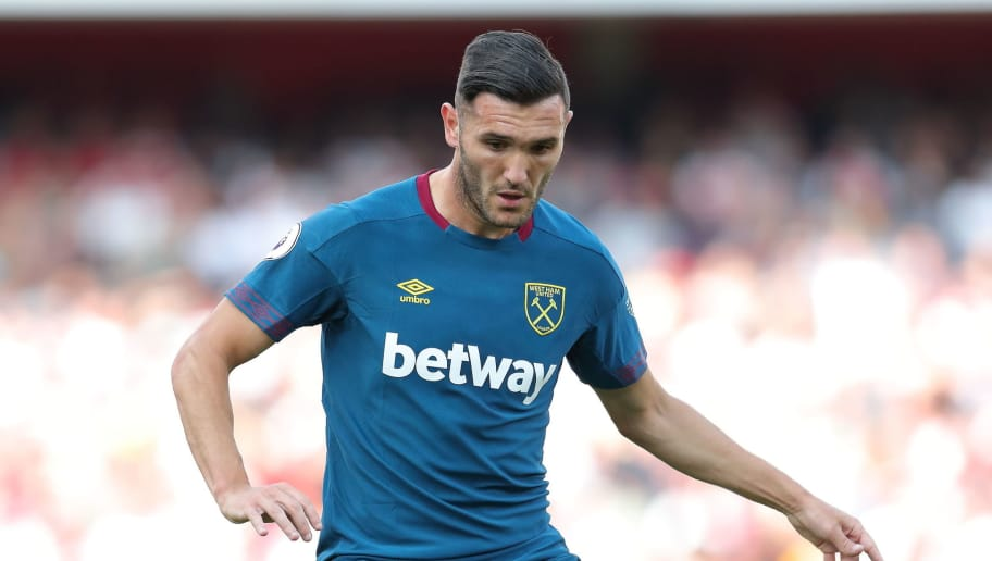 LONDON, ENGLAND - AUGUST 25: Lucas Perez of West Ham United during the Premier League match between Arsenal FC and West Ham United at Emirates Stadium on August 25, 2018 in London, United Kingdom. (Photo by James Williamson - AMA/Getty Images)