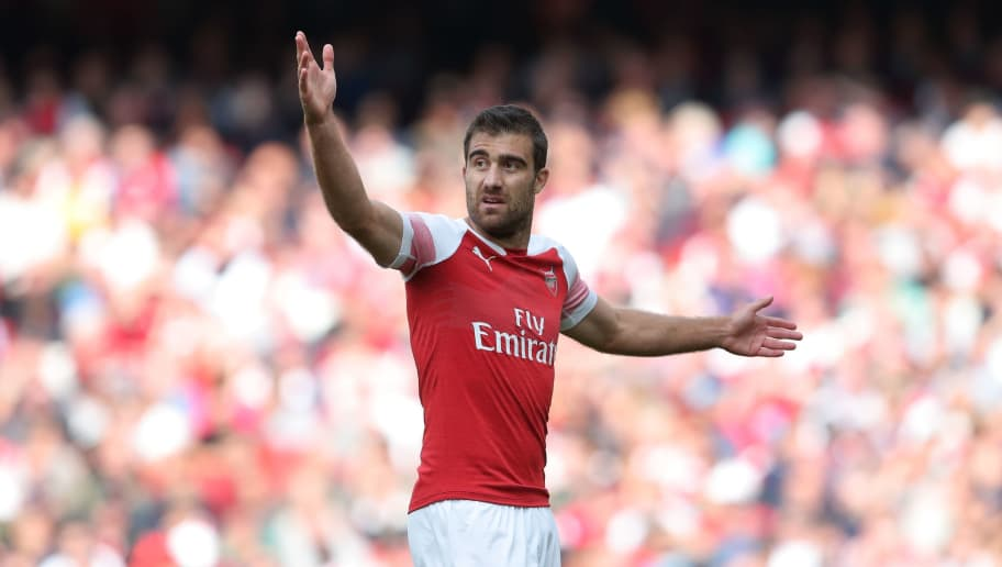 LONDON, ENGLAND - AUGUST 25: Sokratis Papastathopoulos of Arsenal during the Premier League match between Arsenal FC and West Ham United at Emirates Stadium on August 25, 2018 in London, United Kingdom. (Photo by James Williamson - AMA/Getty Images)