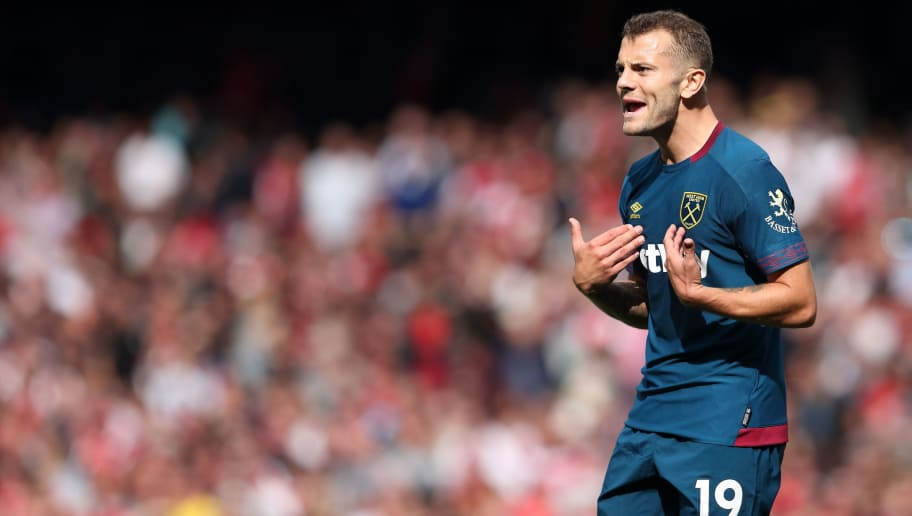 LONDON, ENGLAND - AUGUST 25: Jack Wilshere of West Ham United during the Premier League match between Arsenal FC and West Ham United at Emirates Stadium on August 25, 2018 in London, United Kingdom. (Photo by James Williamson - AMA/Getty Images)