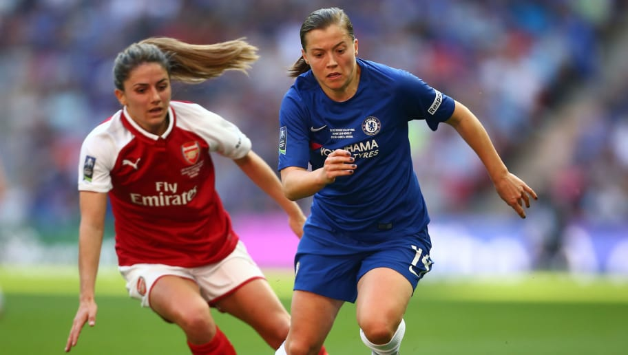 LONDON, ENGLAND - MAY 05: Fran Kirby of Chelsea holds off pressure from Danielle van de Donk of Arsenal during the SSE Women's FA Cup Final match between Arsenal Women and Chelsea Ladies at Wembley Stadium on May 5, 2018 in London, England. (Photo by Jordan Mansfield/Getty Images)