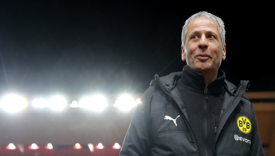 MONACO - DECEMBER 11:  Lucien Favre, head coach of Dortmund smiles prior to the UEFA Champions League Group A match between AS Monaco and Borussia Dortmund at Stade Louis II on December 11, 2018 in Monaco, Monaco.  (Photo by Alexander Hassenstein/Bongarts/Getty Images)