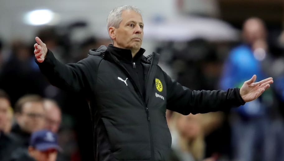 MONACO - DECEMBER 11:  Lucien Favre, head coach of Dortmund reacts during the UEFA Champions League Group A match between AS Monaco and Borussia Dortmund at Stade Louis II on December 11, 2018 in Monaco, Monaco.  (Photo by Alexander Hassenstein/Bongarts/Getty Images)