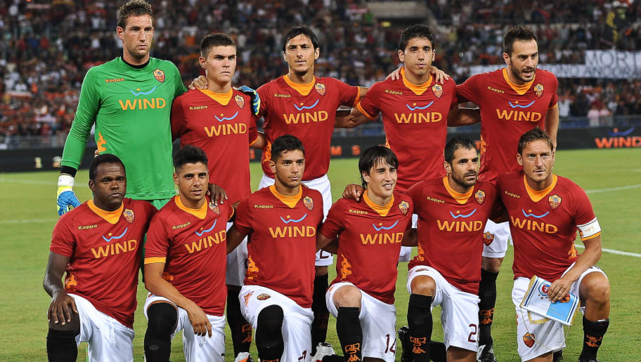 AS Roma's football team pose before thei