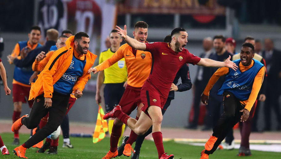 ROME, ITALY - APRIL 10: Kostas Manolas of AS Roma celebrates scoring his side's third goal during the UEFA Champions League Quarter Final, second leg match between AS Roma and FC Barcelona at Stadio Olimpico on April 10, 2018 in Rome, Italy. (Photo by Chris Brunskill Ltd/Getty Images)