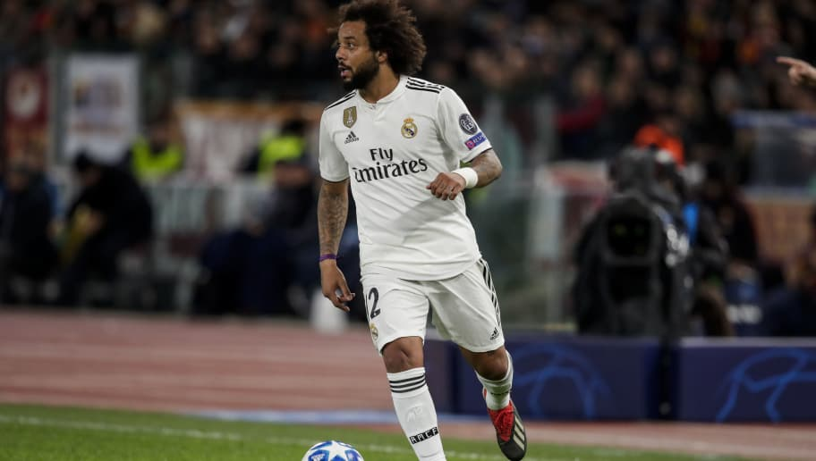 ROME, ITALY - NOVEMBER 27: Marcelo of Real Madrid during the UEFA Champions League  match between AS Roma v Real Madrid at the Stadio Olimpico Rome on November 27, 2018 in Rome Italy (Photo by David S. Bustamante/Soccrates/Getty Images)