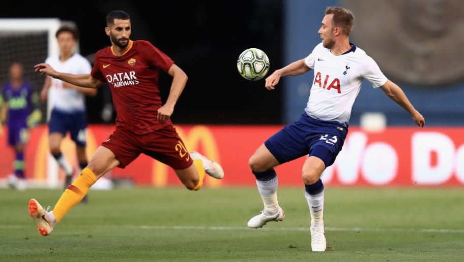 SAN DIEGO, CA - JULY 25:  Christian Eriksen #23 of Tottenham Hotspur and Maxime Gonalons #21 of A.S. Roma in action during an International Champions Cup match at SDCCU Stadium on July 25, 2018 in San Diego, California.  (Photo by Sean M. Haffey/International Champions Cup/Getty Images)