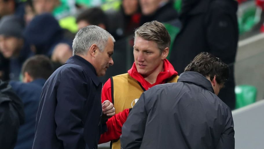 SAINT-ETIENNE, FRANCE - FEBRUARY 22:  Bastian Schweinsteiger of Manchester United speaks with Jose Mourinho, manager of Manchester United on the touchline during the UEFA Europa League Round of 32 second leg match between AS Saint-Etienne and Manchester United at Stade Geoffroy-Guichard on February 22, 2017 in Saint-Etienne, France.  (Photo by Christopher Lee/Getty Images)