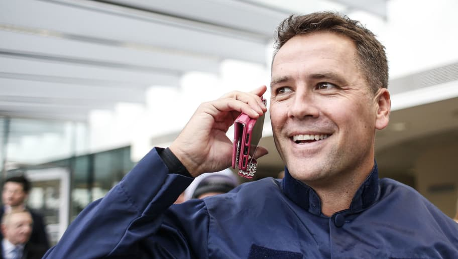 ASCOT, ENGLAND - NOVEMBER 24:  Ex England footballer Michael Owen on the phone prior to riding in a charity race at Ascot racecourse on November 24, 2017 in Ascot, United Kingdom. (Photo by Alan Crowhurst/Getty Images)