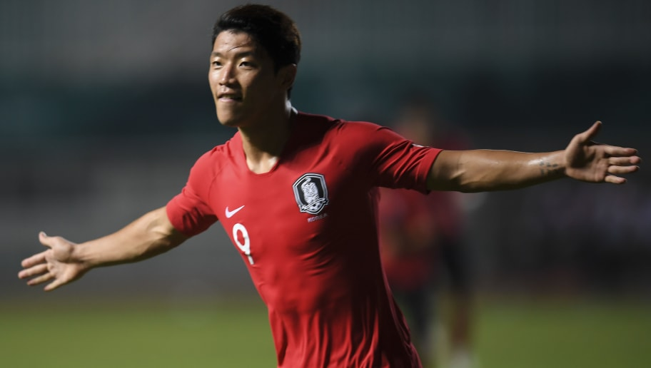 South Korea's Hee Chan Hwang celebrates a score during the men's football gold medals match between Japan and South Korea at the 2018 Asian Games in Pakansari Stadium at Bogor on September 1, 2018. (Photo by CHAIDEER MAHYUDDIN / AFP)        (Photo credit should read CHAIDEER MAHYUDDIN/AFP/Getty Images)