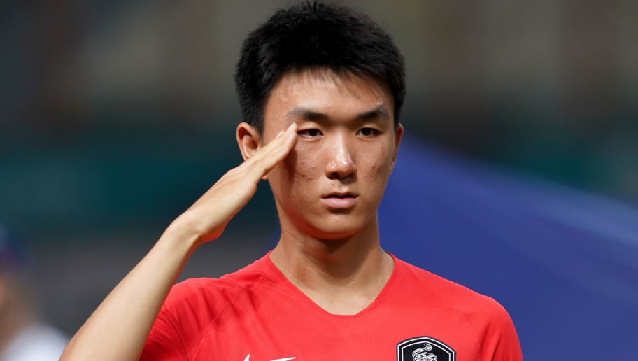 JAKARTA, INDONESIA - AUGUST 23:  Hwang Inbeom of South Korea during the Men's football competition of the last 16 elimination match between Iran and South Korea at the Wibawa Mukti Stadium on day five of the 18th Asian Games on August 23, 2018 in Jakarta, Indonesia.  (Photo by Allsport Co./Getty Images)