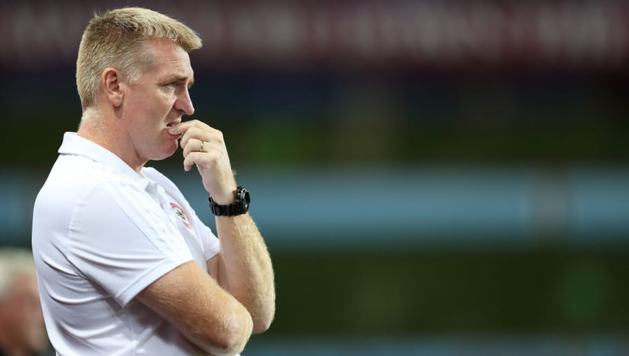 BIRMINGHAM, ENGLAND - AUGUST 22: Brentford manager \ head coach Dean Smith during the Sky Bet Championship match between Aston Villa and Brentford  at Villa Park on August 22, 2018 in Birmingham, England. (Photo by James Williamson - AMA/Getty Images)