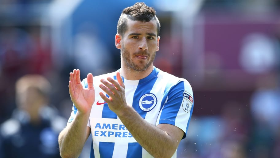 BIRMINGHAM, ENGLAND - MAY 07: Tomer Hemed of Brighton and Hove Albion shows appreciation to the fans after the Sky Bet Championship match between Aston Villa and Brighton & Hove Albion at Villa Park on May 7, 2017 in Birmingham, England.  Brighton miss out on winning the Championship title after a one-all draw. (Photo by Jan Kruger/Getty Images)