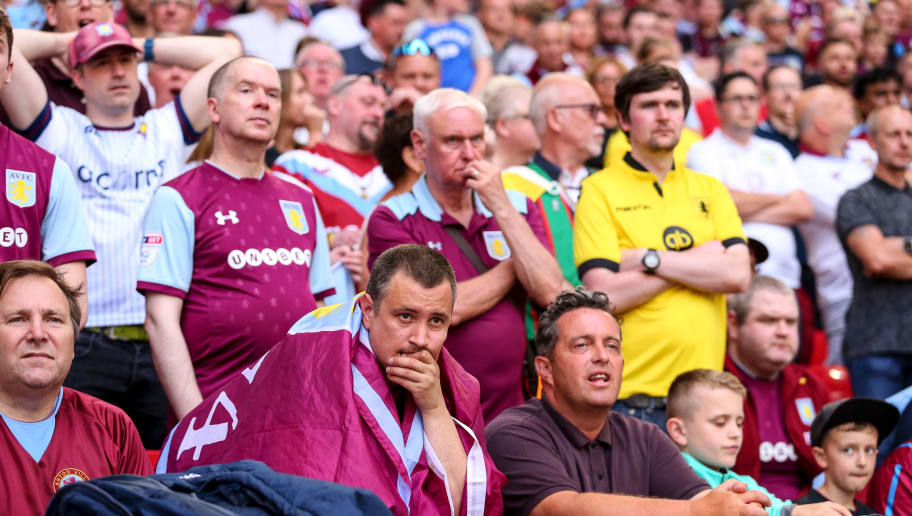 LONDON, ENGLAND - MAY 26: Nervous fans of Aston Villa look on during the Sky Bet Championship Play Off Final between Aston Villa and Fulham at Wembley Stadium on May 26, 2018 in London, England. (Photo by Robbie Jay Barratt - AMA/Getty Images)