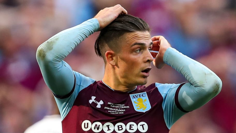 LONDON, ENGLAND - MAY 26: Jack Grealish of Aston Villa reacts after missing a chance on goal during the Sky Bet Championship Play Off Final between Aston Villa and Fulham at Wembley Stadium on May 26, 2018 in London, England. (Photo by Robbie Jay Barratt - AMA/Getty Images)