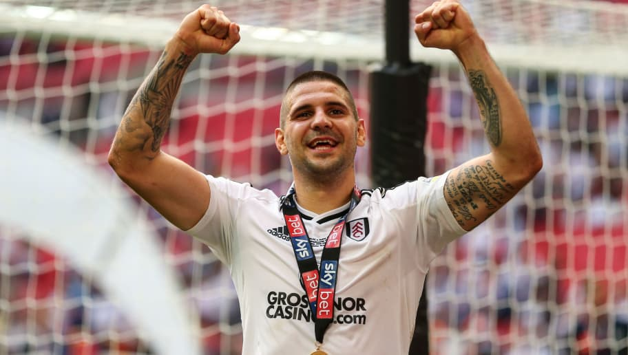 LONDON, ENGLAND - MAY 26: Aleksandar Mitrovic of Fulham celebrates during the Sky Bet Championship Play Off Final between Aston Villa and Fulham at Wembley Stadium on May 26, 2018 in London, England. (Photo by Robbie Jay Barratt - AMA/Getty Images)