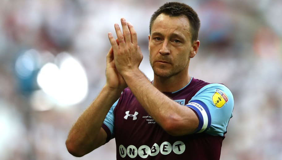 LONDON, ENGLAND - MAY 26:  John Terry of Aston Villa shows appreciation to the fans following the Sky Bet Championship Play Off Final between Aston Villa and  Fulham at Wembley Stadium on May 26, 2018 in London, England.  (Photo by Clive Mason/Getty Images)