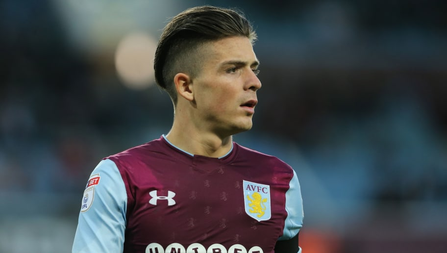 BIRMINGHAM, ENGLAND - MAY 15: Jack Grealish of Aston Villa during the Sky Bet Championship Play Off Semi Final:Second Leg match between Aston Villa and Middlesbrough at Villa Park on May 15, 2018 in Birmingham, England. (Photo by James Williamson - AMA/Getty Images)
